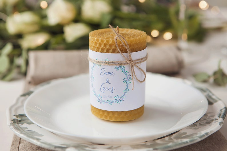 Set of 10 Personalized custom candle Wedding favor candles image 0