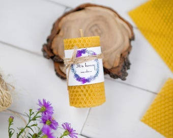 100% Natural Beeswax Pillar Handrolled lavender Candle. Eco-friendly Honeycomb