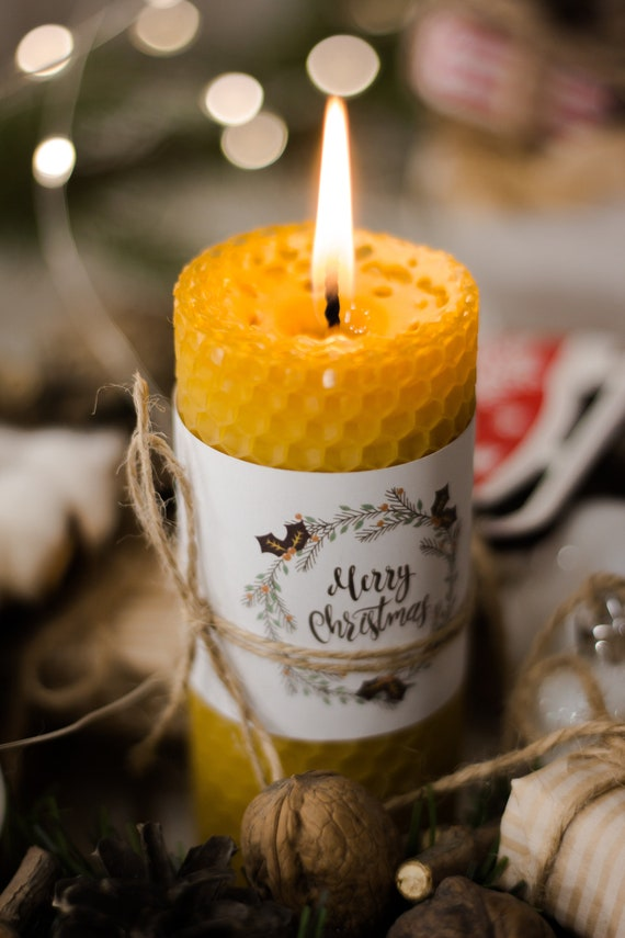 Personalise unique candle Beeswax Christmas Candle Employee christmas gift and client gift