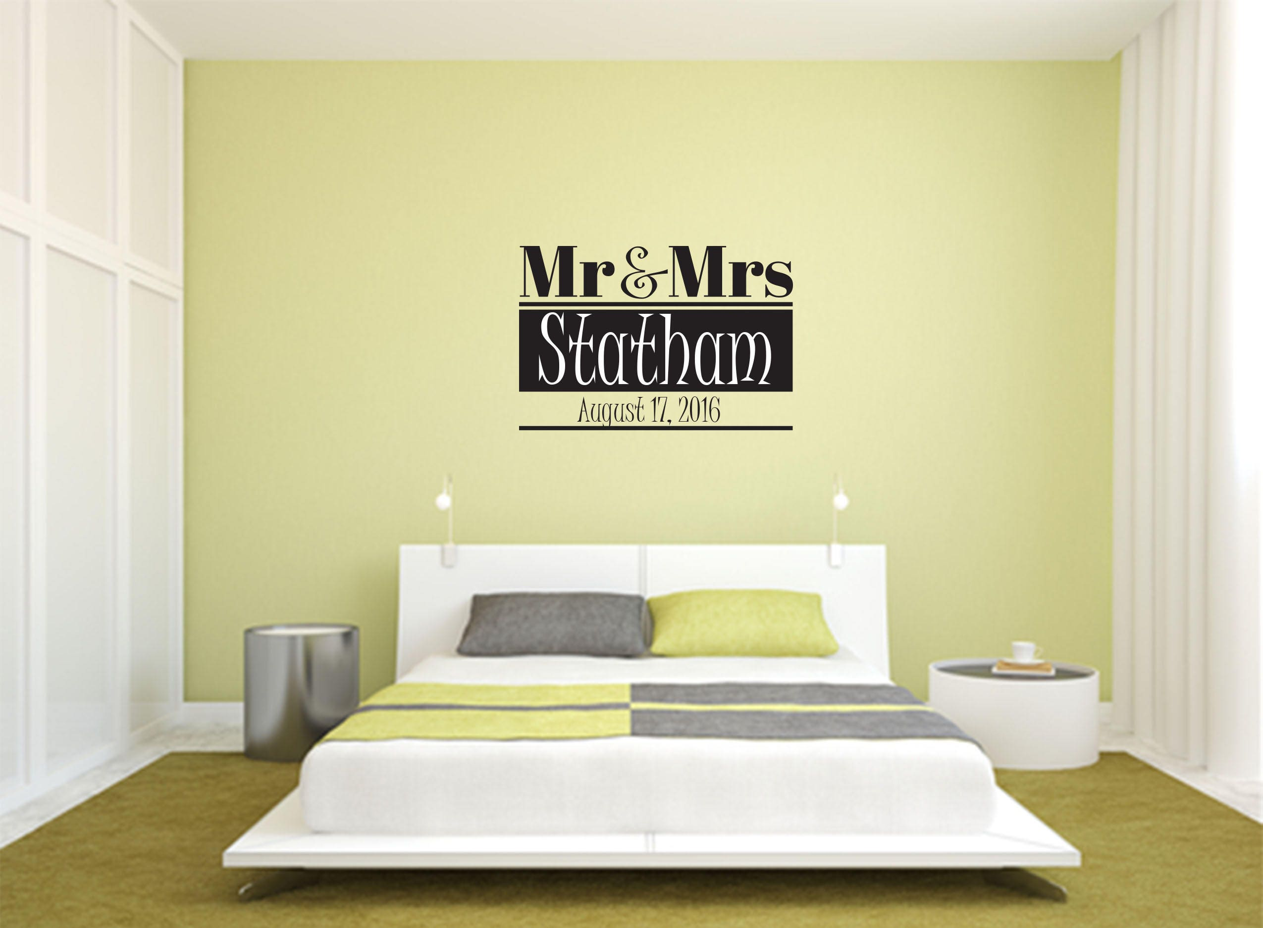 Mr & Mrs Decal with Custom Name and Date Multi-Colored Wall | Etsy