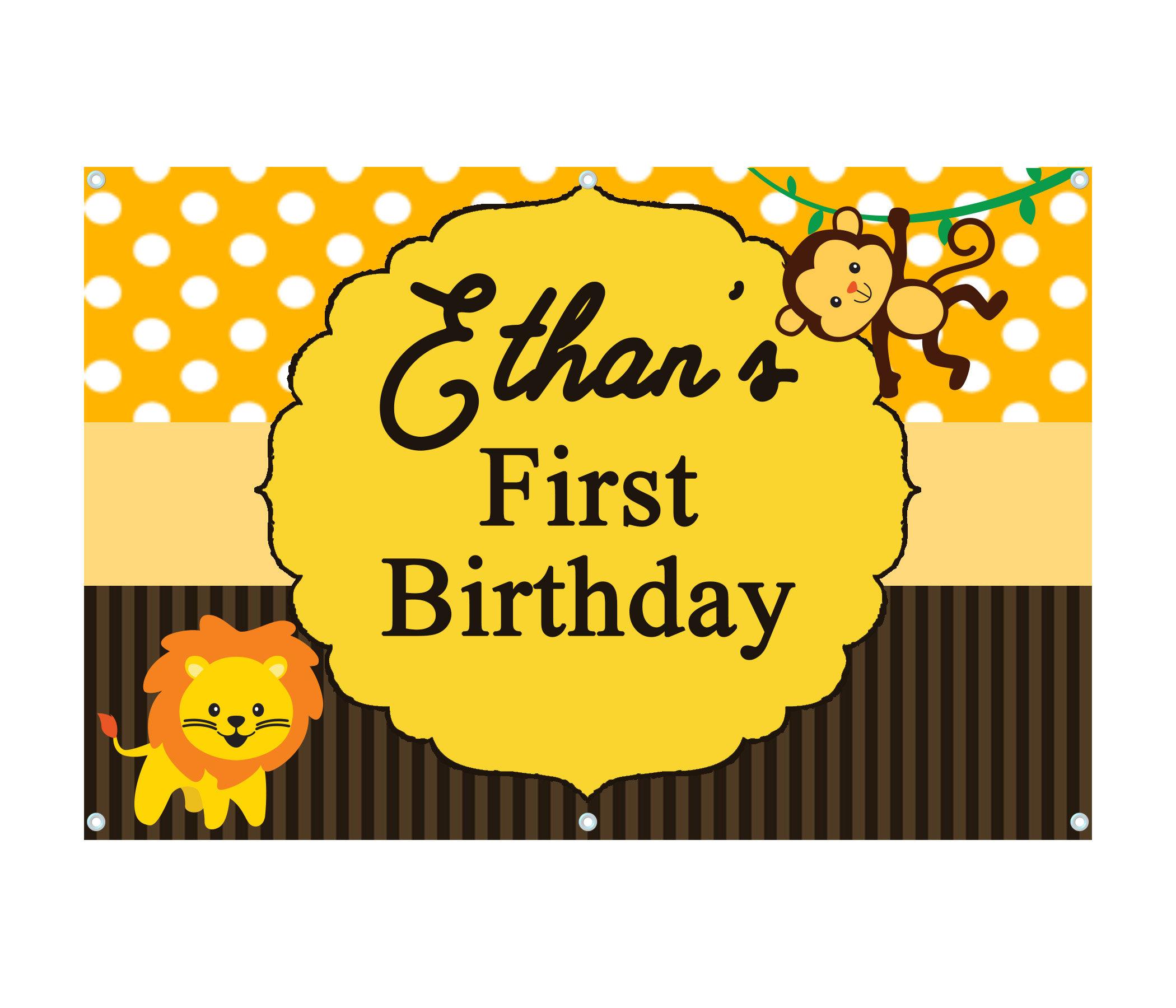 Safari Birthday Banner Vinyl Banner Birthday Party 1st