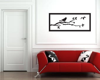 Birds on Tree Branch with Frame Wall Decal - Bird Wall Decal - Bird Wall Sticker