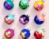 "SET OF 10 Multicolored Gold Leaf Christmas Ornaments - Colorful Metallic 2"" Glass Balls"