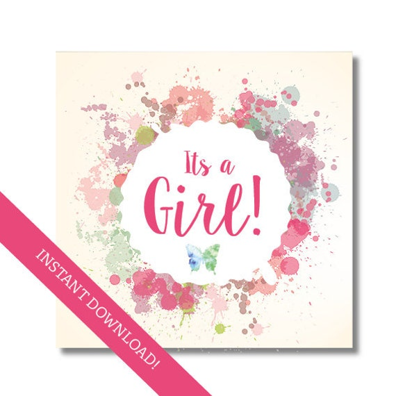 photo about Baby Shower Card Printable known as Its a female card, Youngster shower card, printable card, pdf and jpg immediate obtain, Printable child shower card, Electronic card for child woman