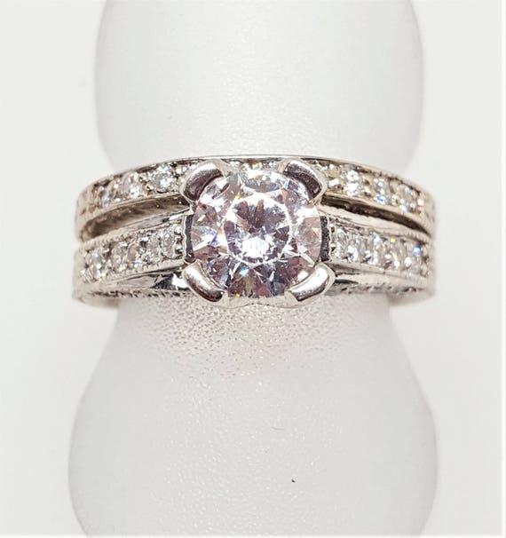Vintage 14k Carved Dolan Bullock Cubic Zirconia Wedding Set Engagement Ring Wedding Band Size 5 25