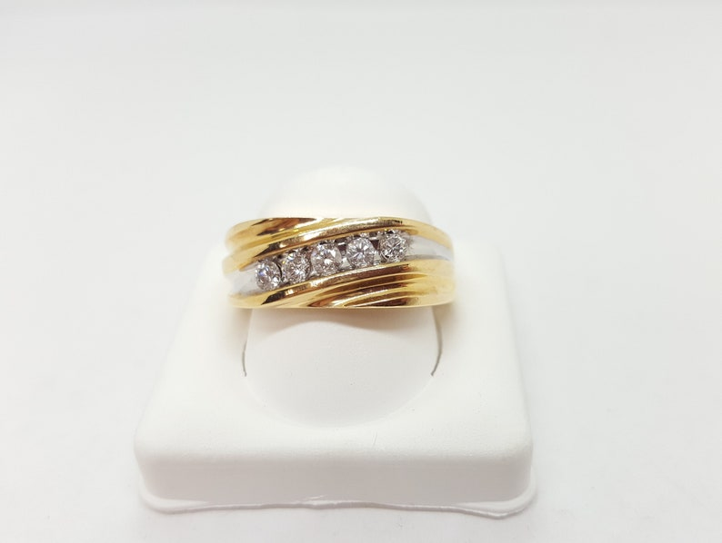 32d8e10e5c Vintage Men's 8.4mm 14K Yellow Gold & Diamond Wedding Band | Etsy