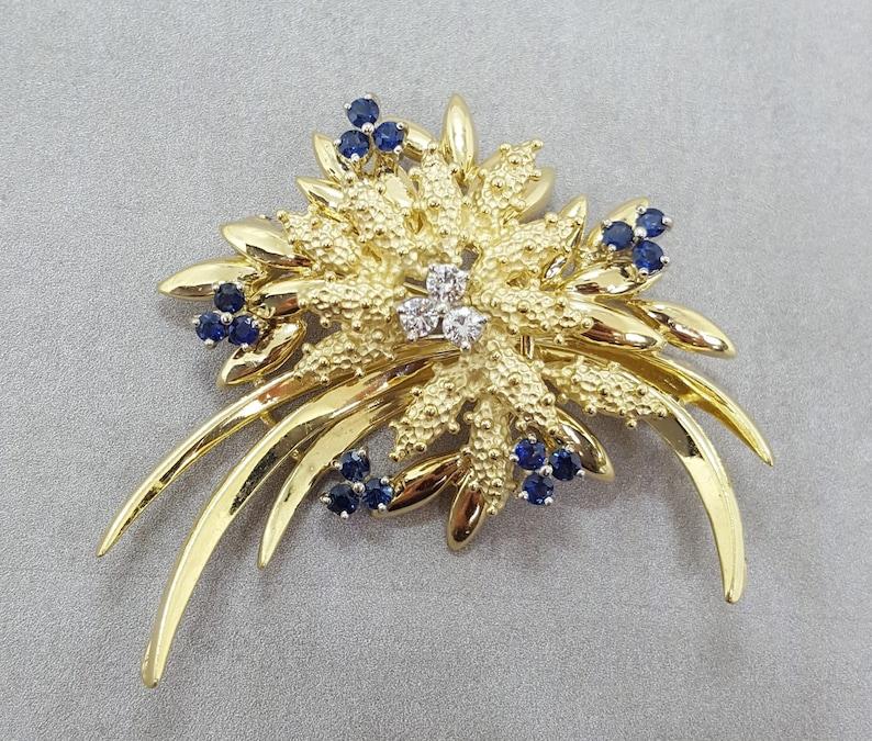 d7f391f50e4 Women's Antique Art Nouveau 18K Yellow Gold Blue Sapphire | Etsy
