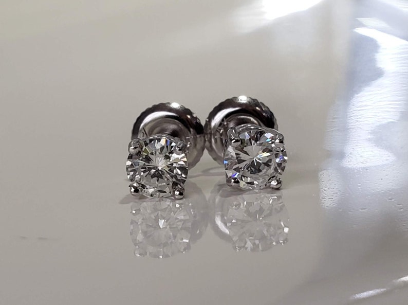 5db1fc4081b Women's Men's 14K White Gold Round Brilliant Cut Natural Diamond 4 Prong  Earring Studs Multiple Carat Sizes