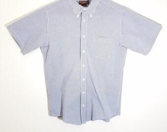 69c25cdb Vintage Brooks Brothers Mens Blue Medium Plaid Short Sleeve Button Down  Shirt
