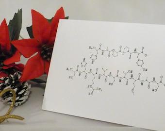 5x Science geek nerd Christmas cards molecule pack of 5