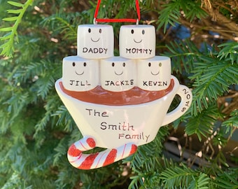 Personalized Hot Chocolate Family Ornament | 5 Marshmallows Customized Christmas Gift | Family of 5 Christmas Ornament | Friends Ornament