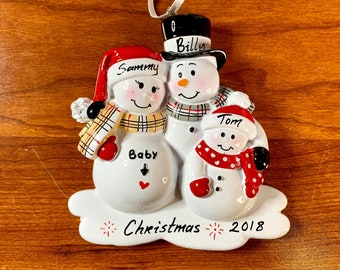 3 Expecting Family Personalized Ornament, Baby Expecting Christmas Ornament, Personalized Christmas Ornament, 2018 Ornament, We're Expecting