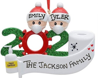 PERSONALIZED Park Bench Family of 4 Christmas Tree Ornament Holiday Name Gift