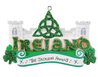 Ireland Personalized Christmas Ornament | Travel Ornaments | Holiday Gift for Traveller