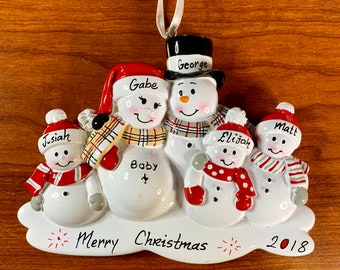 5 Expecting Family Personalized Ornament, Baby Expecting Christmas Ornament, Personalized Christmas Ornament, 2018 Ornament, We're Expecting