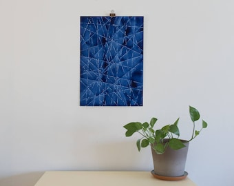 "Geometric Blue XI Original Painting, 14-1/8"" x 20"""