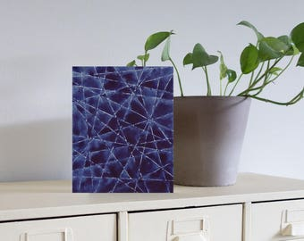 "Geometric Blue X Original Painting, 8"" x 10"" x 1.5"""