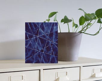 "Geometric Blue IX Original Painting, 8"" x 10"" x 1.5"""