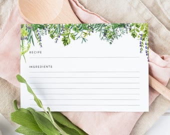 Herb Recipe Cards
