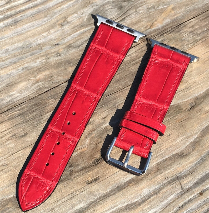 Jewelry & Watches Watches, Parts & Accessories United Red Genuine Leather Crocodile Strap Band For Apple Watch 38mm 40mm 42mm 44mm