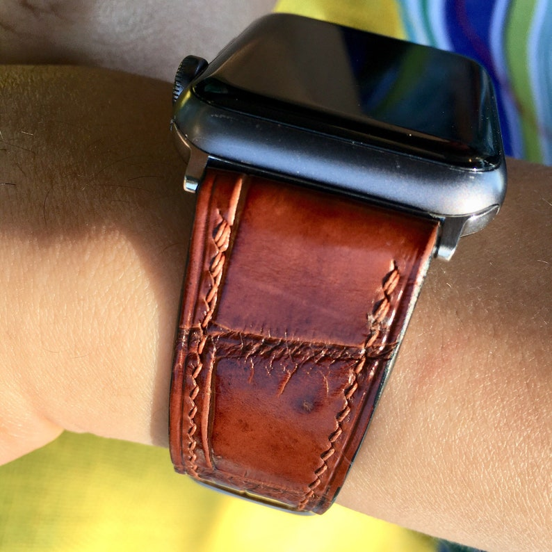 Wristwatch Bands Watches, Parts & Accessories United Red Genuine Leather Crocodile Strap Band For Apple Watch 38mm 40mm 42mm 44mm