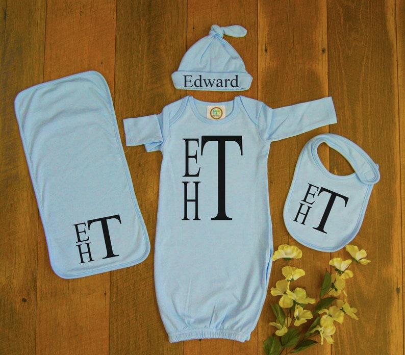 5ab0482265b1 Light Blue Newborn baby gown set-Newborn outfit-Going home