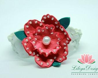 Leather flower bracelet Red flower jewelry Flower bracelet Real leather bracelet Genuine leather bracelet Rose bracelet Red rose bracelet