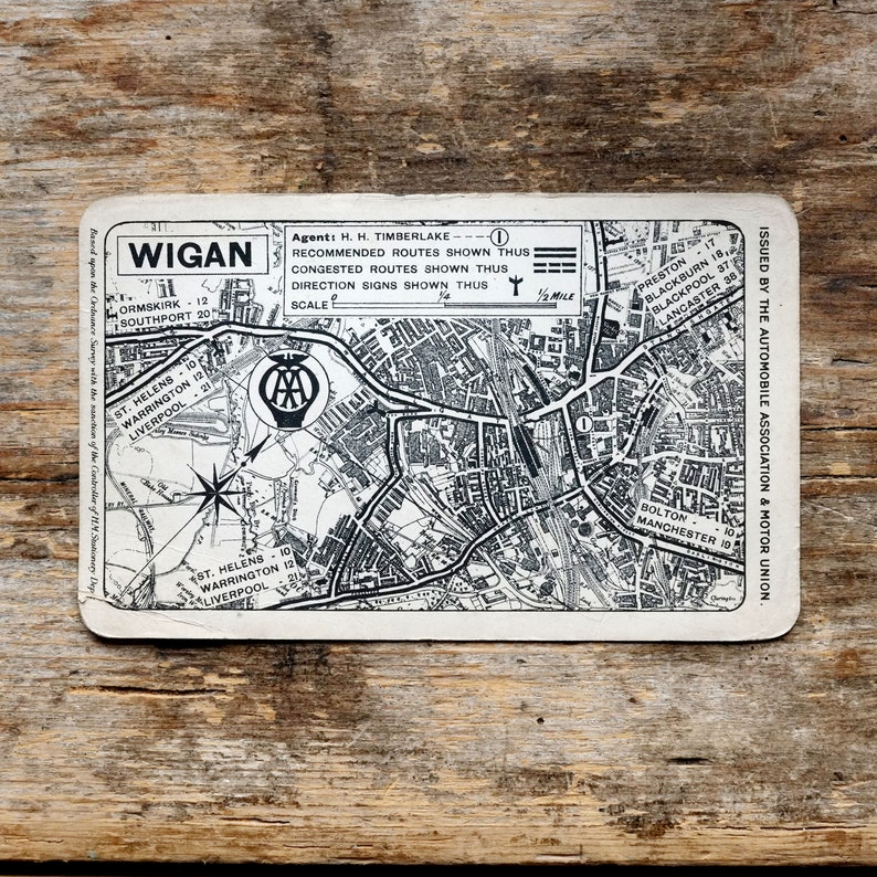Vintage AA Map of Wigan c1928 | Etsy on