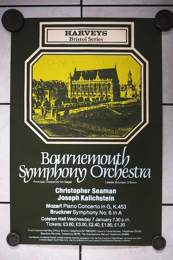 Vintage Bournemouth Symphony Orchestra Concert Classique Signé Affiche Bristol Colston Hall 1987