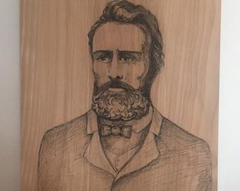 "Portrait of Herman Melville 9"" x 12"""