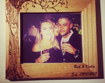 Custom Personalised Engraved Wooden Photo Frame Love Couple Valentines Tree Trunk Wood Burnt Pyrography Art Unique Bespoke Heart Wall Decor
