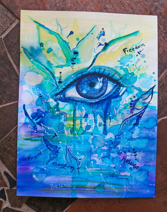 Blue Eye Abstract Painting Colourful Art Vibrant Colors Unique Artworks Original Art Blue Green