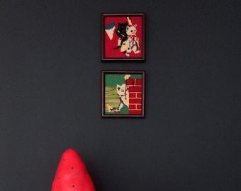 2 canvas vintage frames made of wood, vintage
