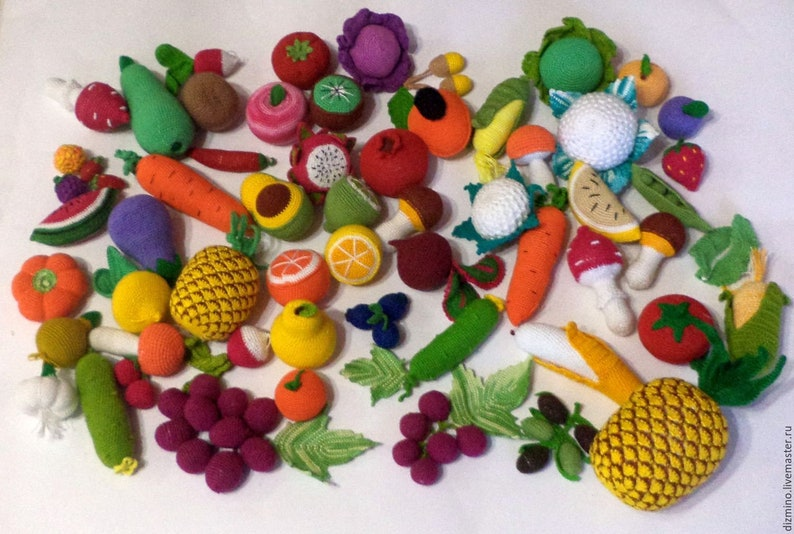 Crochet Fruit and Vegetable Play Toy  set food Selection Crochet Fake Food  Kitchen, Farmers Market, pretend play food food for dolls