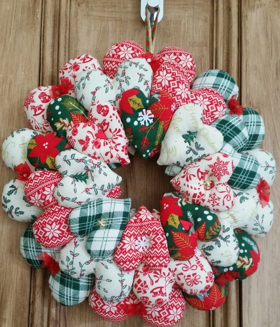 Christmas Heart Wreath.Hanging Heart Christmas Wreath Decoration Holiday Door Wreath Fabric Hearts