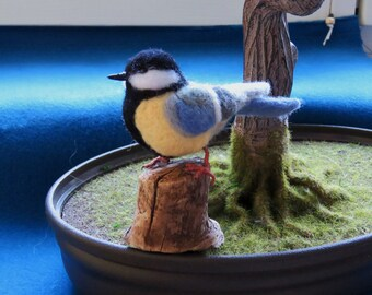 Great tit felted tap.