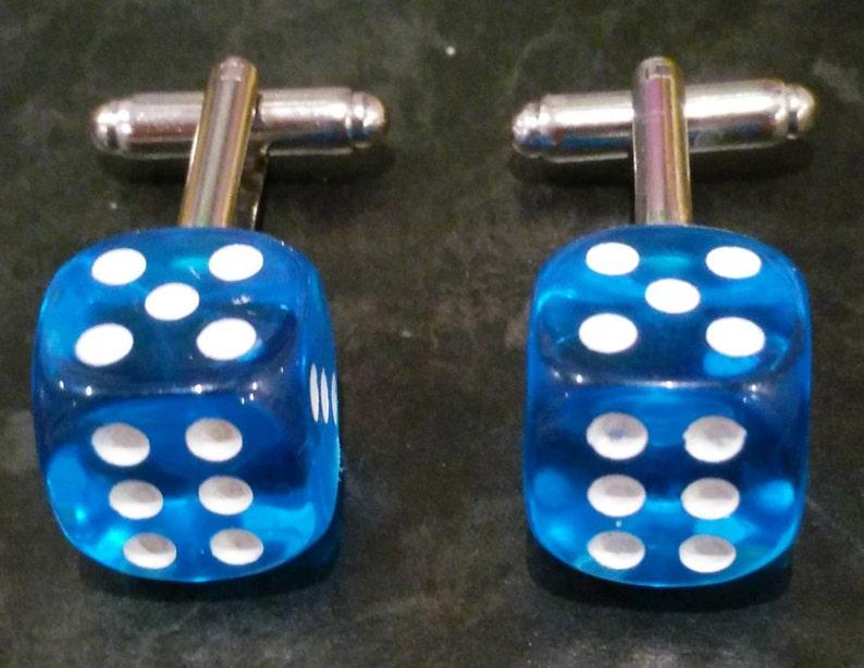 Double Six Lucky Dice Cufflinks Light Blue