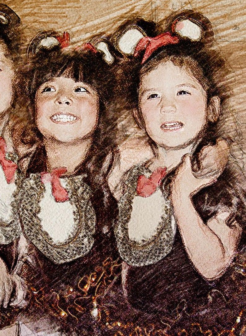 Art From Photo Watercolor Ballerina. Pencil Sketch Pastels Portrait: Dance Recital Custom Art Children Sisters Personalized Drawing