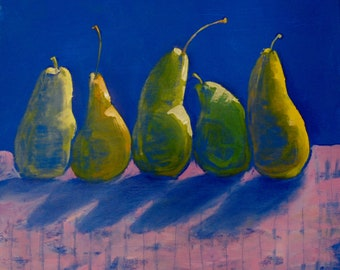 Still life with pears, Avant-garde still life, Painting with pears, Conceptual art, Interior painting