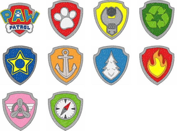 Slobbery image for paw patrol badges printable