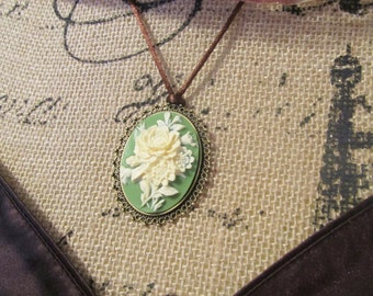 Cameo necklace, Victorian necklace, Gypsy jewelry, green cameo, large cameo necklace, Woman's jewelry