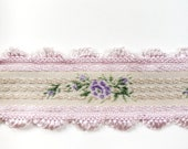 Vintage Orchid and Cream with Lavender Rose Pattern Jacquard Brocade Ribbon for Bridal, Millinery, Costuming or Doll Making