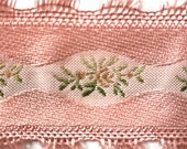 Vintage Dusty Rose Brocade Ribbon with Roses for Bridal, Millinery or Costuming