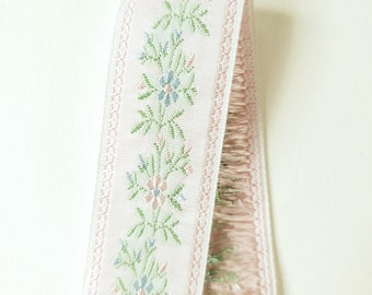 Vintage Edelweiss Jacquard Ribbon in White, Pale Pink, Baby Blue and Mint Green for Passementerie, Millinery or Costuming