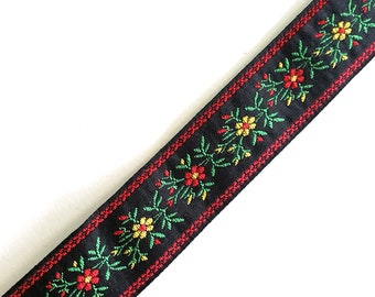 Vintage Edelweiss Jacquard Ribbon in Black, Red, Yellow and Green for Passementerie, Millinery or Costuming