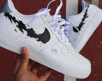 new style 3865d ffccb DEFY Nike Air Force 1 VAB Unapologetic Black Panther torn swoosh plus custom