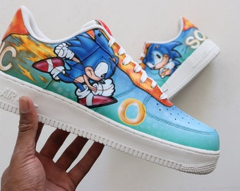 Sonic the hedgehog classic Nike Air Force 1 low sega genesis nrg by vab the  artist ONLY 1 PAIR LEFT 0d7ac2154
