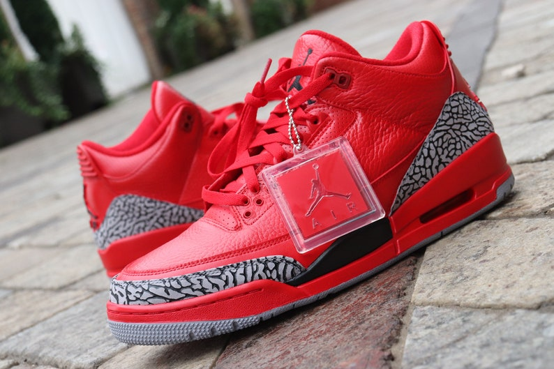 best service 8a5c9 d601d Code RED Air Jordan 3 custom only 5 available   Etsy