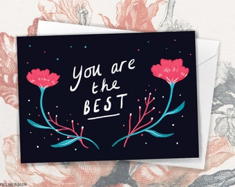 You Are The Best! - Modern Floral Thank You Greeting Card by Emmeline Pidgen Illustration