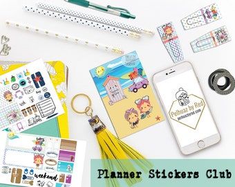 Mini Planner Stickers Club, Planner Sticker Subscription, Monthly Subscription, Subscription Box, Sticker, Happy Planner, Sunny Days